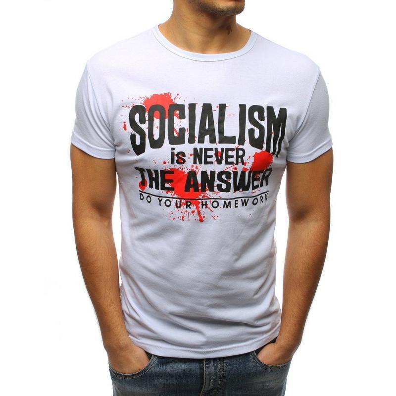 d3ec239baa Pánske štýlové tričko s potlačou biely