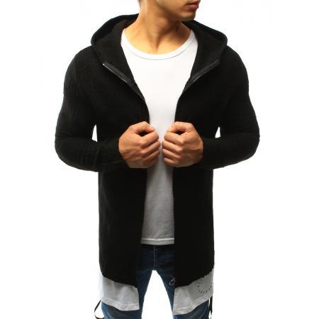 Pánsky sveter rozopínajúce s kapucňou čierny