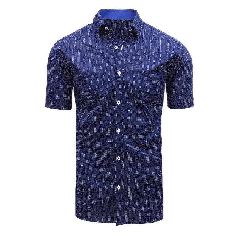 6cb0cfe41 Elegantná pánska košeľa s krátkym rukávom tmavo modrá | manSTYLE.sk
