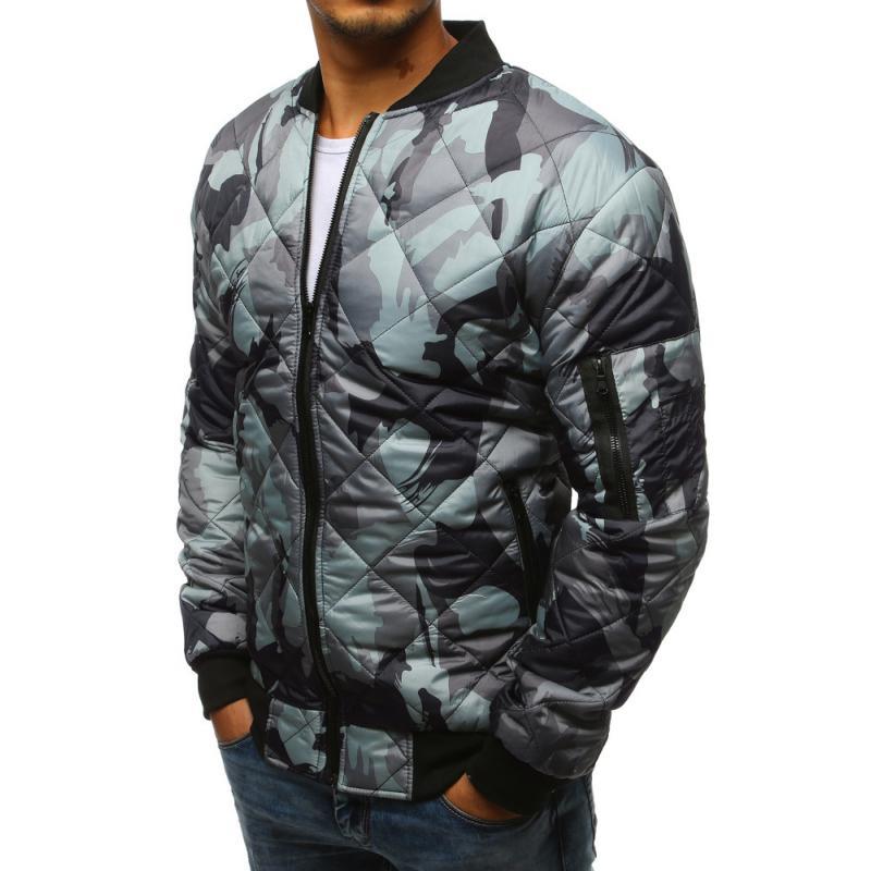 Pánska maskáčová STYLE bunda prešívaná bomber jacket camo šedá ... 272bce4c6c5