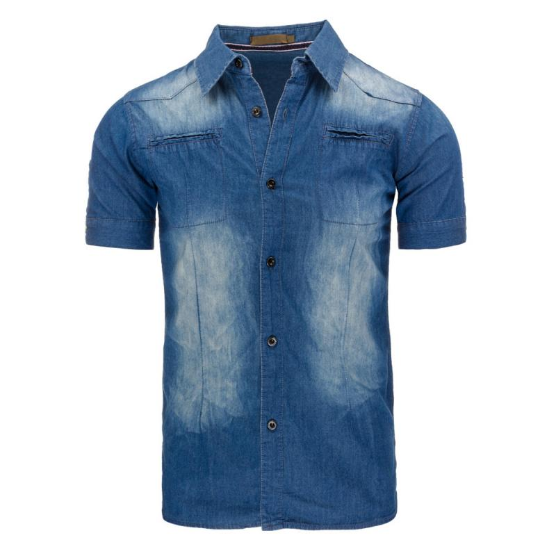 6faddc2d2451 Pánska košeľa jeansová s krátkym rukávom