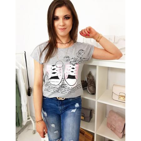 Dámske tričko s potlačou svetlo šedé