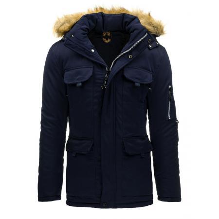 Pánska zimná bunda s kapucňou modrá