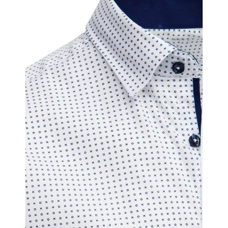3c7f2a6aa57b Elegantná pánska košeľa so vzorom s krátkym rukávom biela