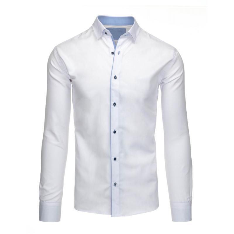 e4fc9636b0af Pánska štýlová košeľa biela s dlhým rukávom