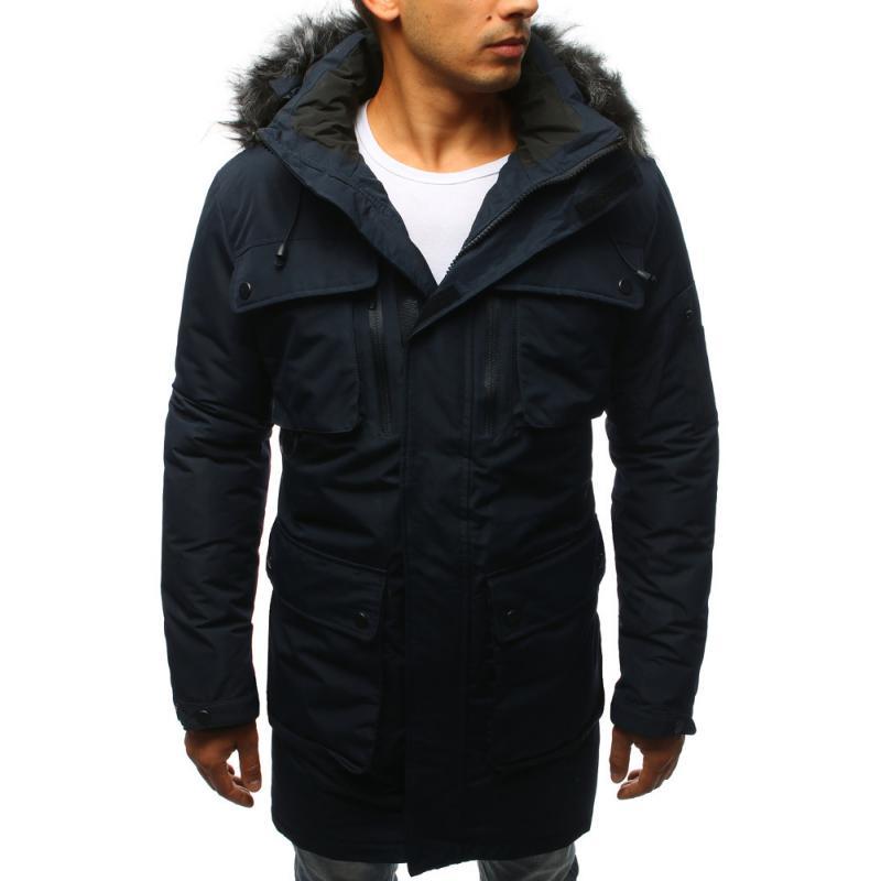 6075c20ebefd Pánska zimná bunda tmavo modrá
