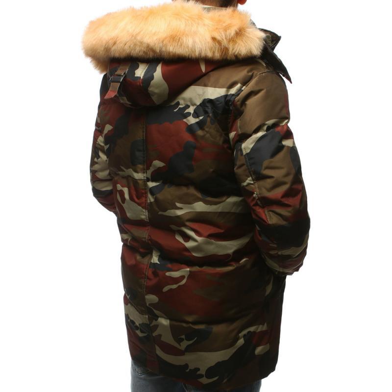 e977709bf Pánska zimná bunda s kapucňou woodland maskáčová | manSTYLE.sk