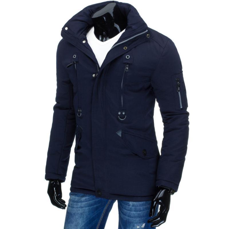 Pánska štýlová zimná bunda (parka) modrá  bd0a9b972d7