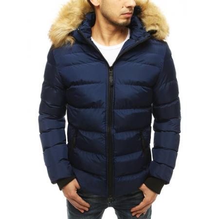 Pánska zimná bunda s kapucňou modrá tx3597