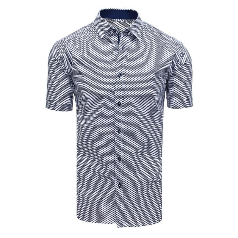 c9bb47b76e81 Elegantná pánska košeľa so vzorom s krátkym rukávom tmavo modrá ...