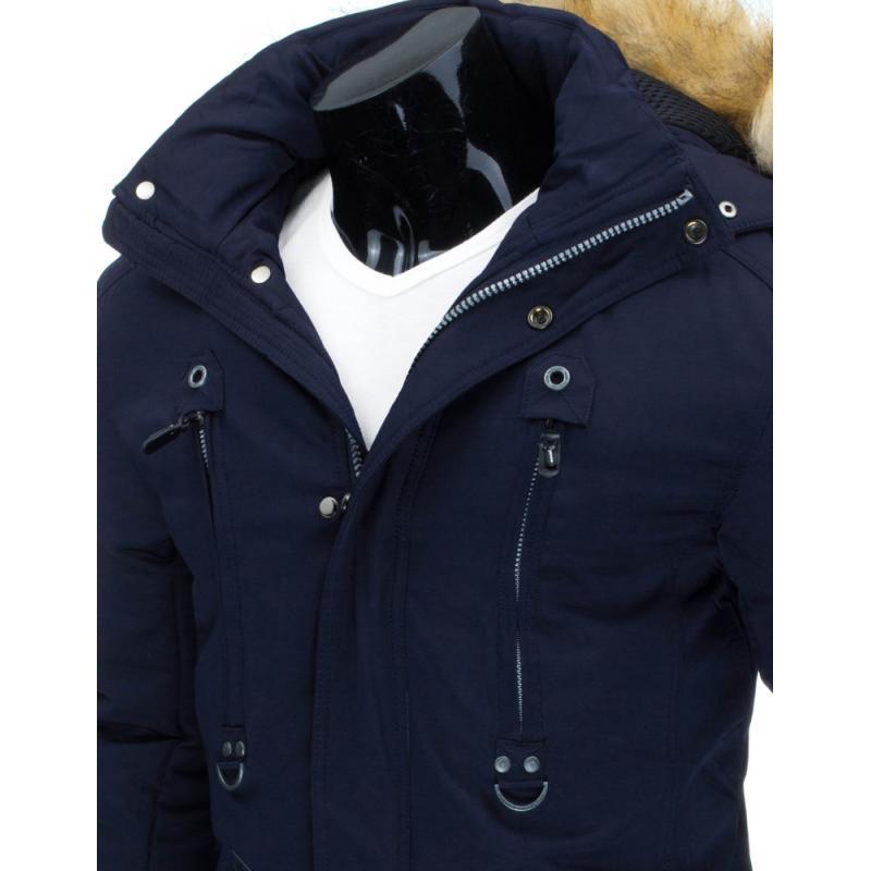 Pánska štýlová zimná bunda (parka) modrá  8cf935e9e24
