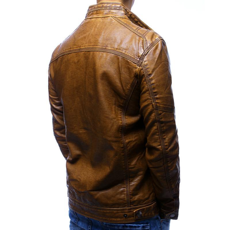 Pánska bunda koženka hnedá  304c2f018fb