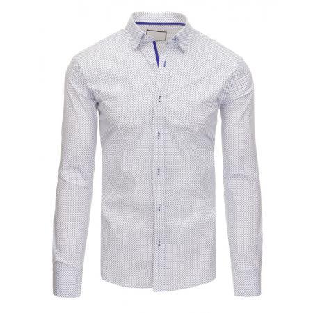 Biela panská košele so vzorom s dlhým rukávom