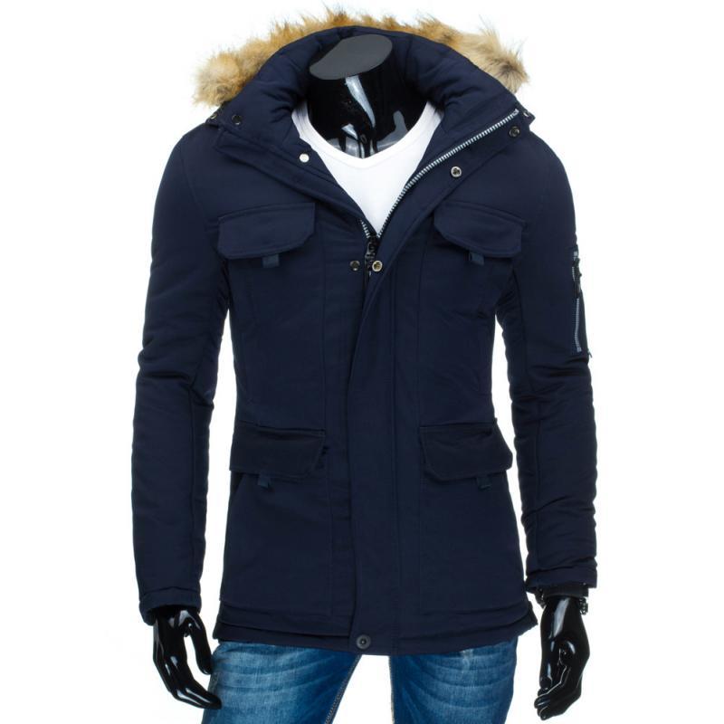 Pánska zimná bunda s kapucňou modrá  a50366c7d31