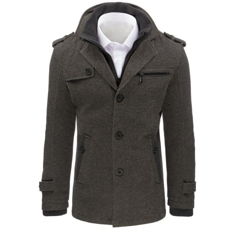 Moderný pánsky kabát - šedý  8dfba4639d1
