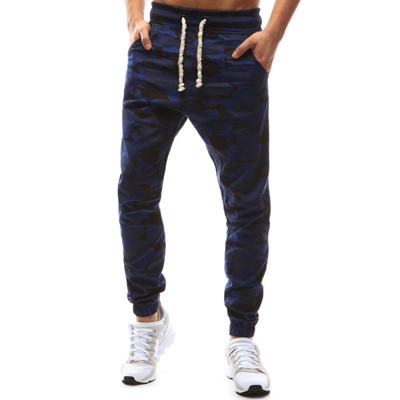 33e078a2254b Pánské nohavice joggery maskáčové tmavo modrá