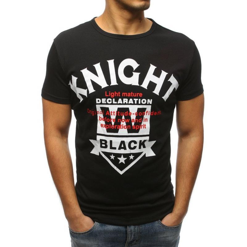 76514c5848 Pánske štýlové tričko s potlačou čiernej