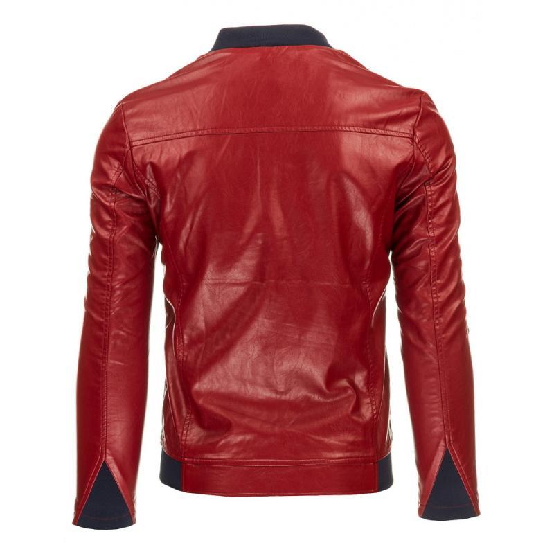 Pánska štýlová bunda z eko kože červená  12997ccf0c1