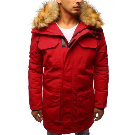 Pánska zimná parka bunda červená