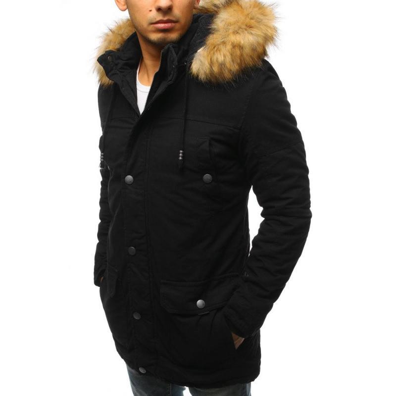 Pánska zimná bunda parka čierna  f0f05ee3753