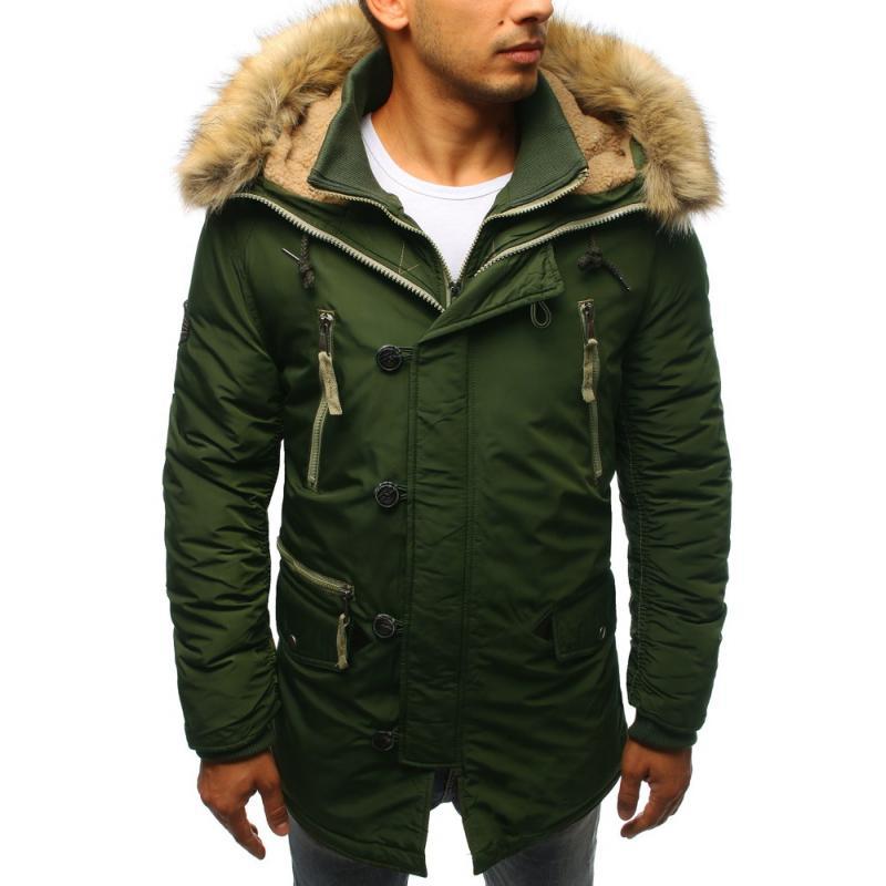 Pánska zimná bunda tmavo zelená  2a61fa4d92d