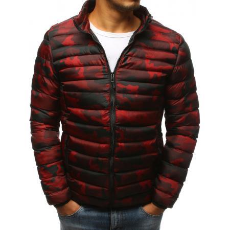 Pánska zimná bunda prešívaná camo červená