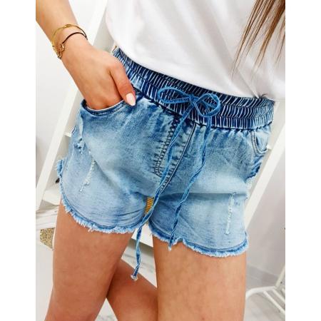 Dámske džínsové kraťasy na gumu modrej