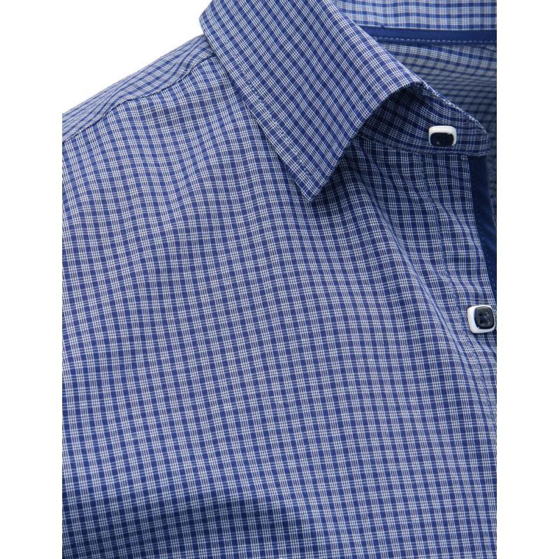bc14f751821b Modrá pánska košeľa kockovaná s dlhým rukávom
