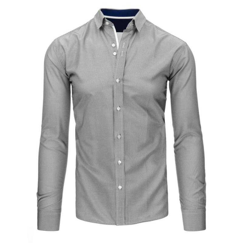 05a0e40405f5 Bielo-čierna pánska moderné košeľa s pruhmi