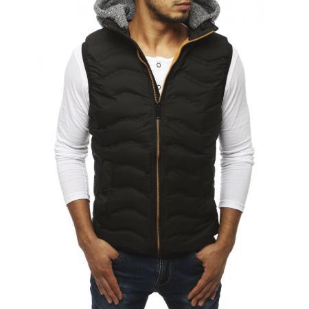 Pánska prešívaná vesta s kapucňou čierna