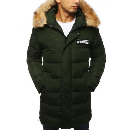 Pánska STYLE bunda parka zimná - zateplená vypchatá / prešívaná zelená
