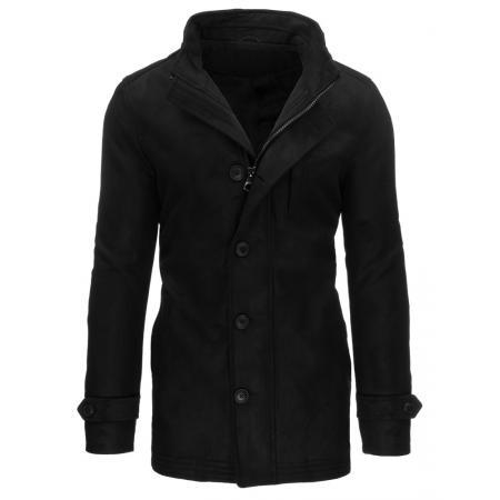 Pánsky čierny kabát so zapínaním na zips a gombíky