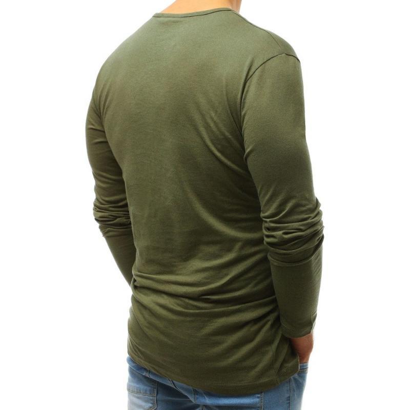 bef23da4720e Pánske MODERN tričko s dlhým rukávom bez potlače zelené