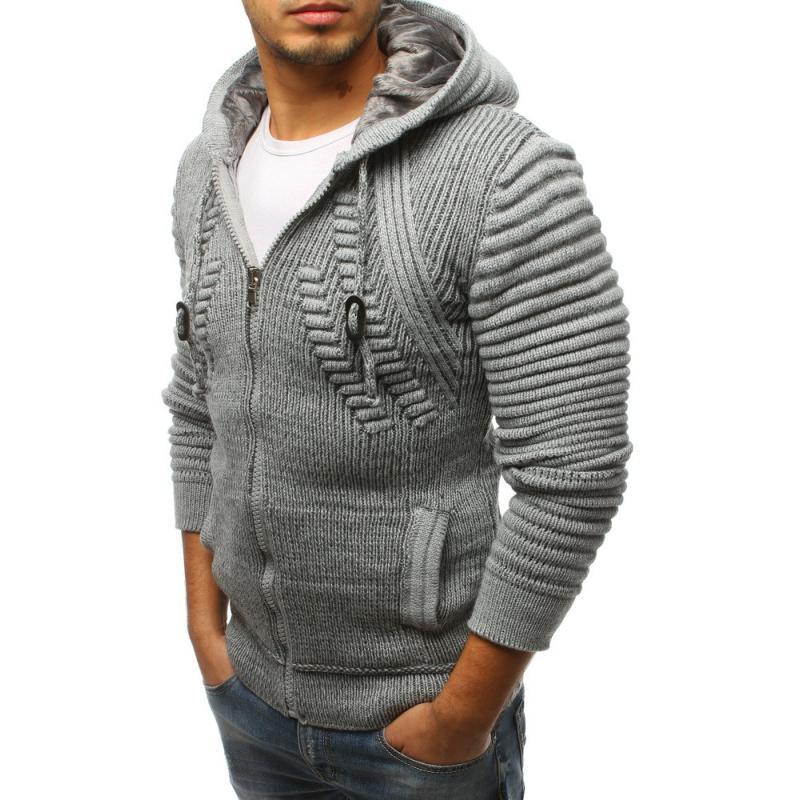 186fe3e7ca47 Pánsky sveter rozopínajúce s kapucňou šedý STYLE