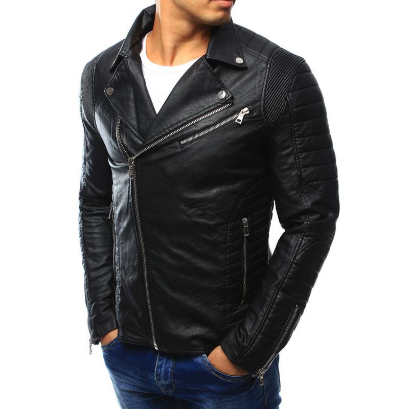 Pánska kožená bunda čierna  9a7de88efbe