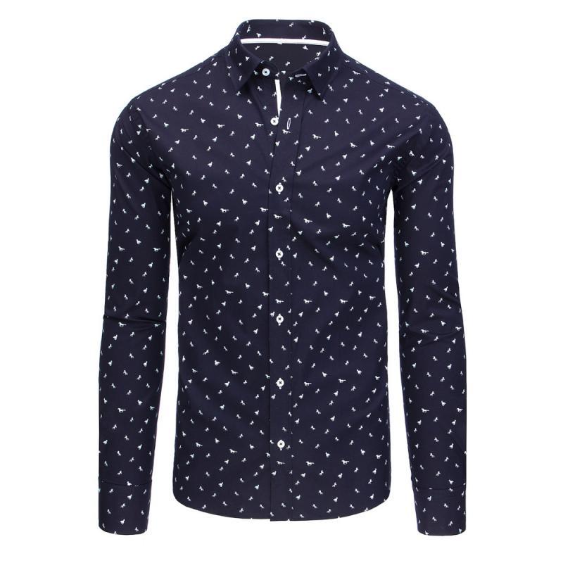 4f9e6f940ecb Tmavo modrá vzorované pánska košeľa s dlhým rukávom