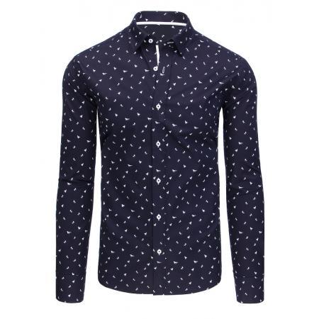 e0db270b2c95 Tmavo modrá vzorované pánska košeľa s dlhým rukávom