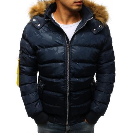 Pánska zimná bunda prešívaná modrá