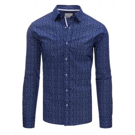Tmavo modrá panská košele so vzorom s dlhým rukávom