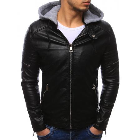 Pánska moderná bunda koženka čierna