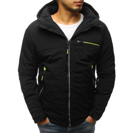 Pánska zimná bunda lyžiarska s kapucňou čierna