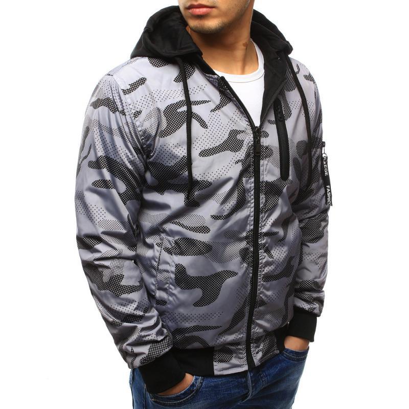 Pánska štýlová bunda obojstranná maskáčový vzor s kapucňou šedá ... 15ad266eab8