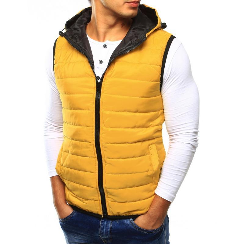 Pánska vesta prešívaná s kapucňou žltá  05e566fa122
