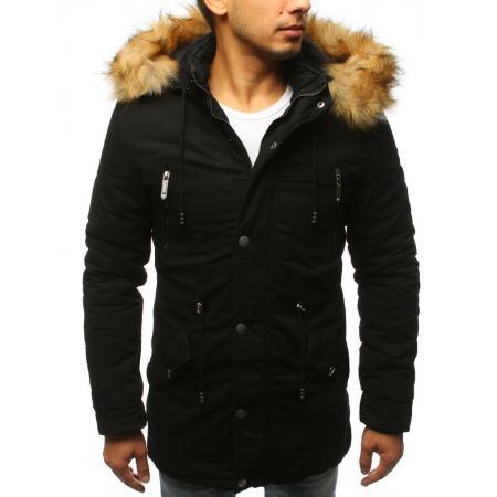 Pánska zimná bunda parka čierna