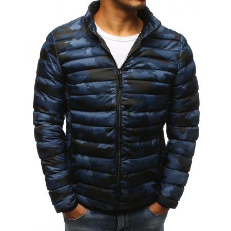 Pánska zimná bunda prešívaná camo tmavomodrá
