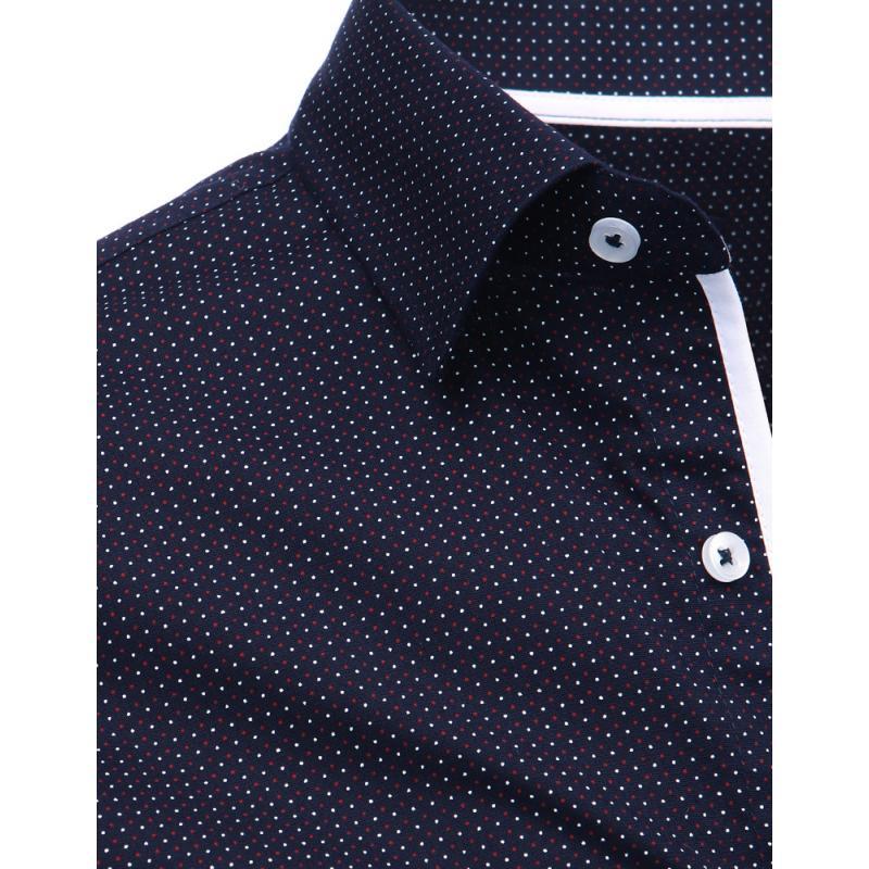 6a9ae57df1d1 Modrá pánska košeľa s vzorom a dlhým rukávom