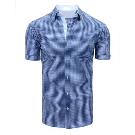 b58e07194323 Modrá pánska modernej košeľa štvorčekovaná