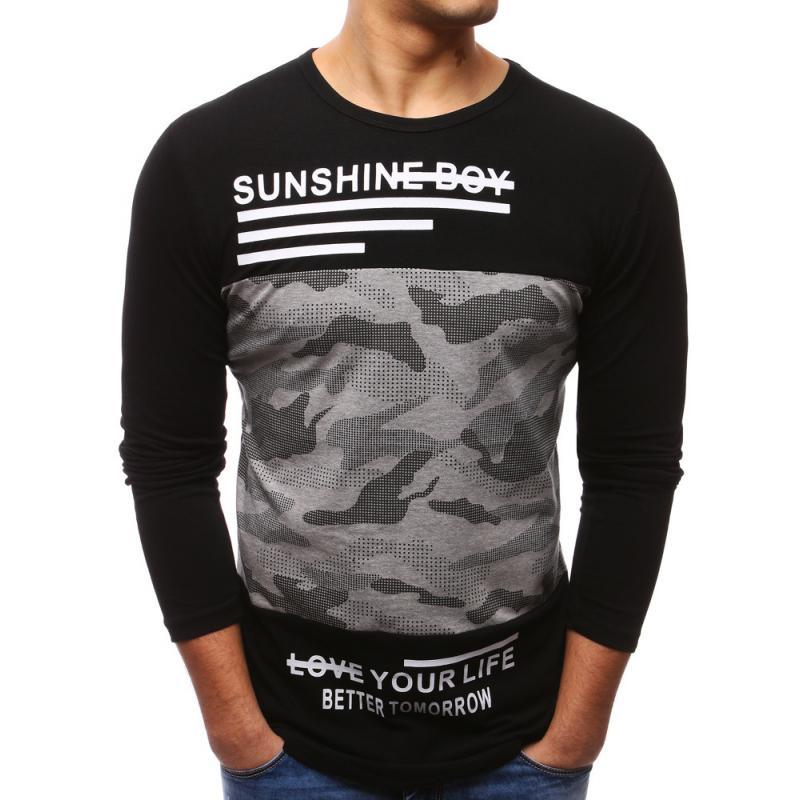 e2e6313993dd Pánske čierne tričko s dlhým rukávom