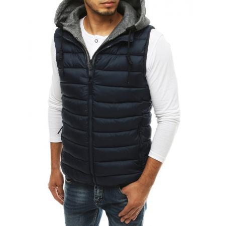 Pánska vesta s kapucňou prešívaná modrá tx3340