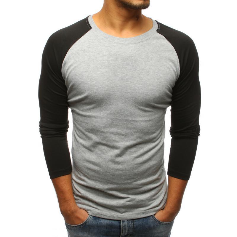 4989469f9 Pánske šedé tričko s dlhým rukávom   manSTYLE.sk